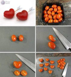 here is how to make a heart with a cherry tomato's