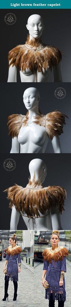 Light brown feather capelet. Spectacular tan feather capelet that will make any outfit take to the sky. The color scheme of these undyed feathers is so yummy, blending shades of caramel, burned orange and cream.___This versatile piece can be worn in two ways. As feather capelet closes in the front with leather ribbons. If you take the ribbons under the arms and tie in the back it makes an awesome shoulder wrap shrug with huge wing-like shoulders. ___This design also comes in black color…