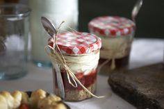 individual desserts in Bonne Maman jam jars.  Cute!