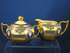 "Zeh, Scherzer & Co. Bavaria Pickard Studios ""Encrusted Linear"" Creamer & Sugar Set (c.1912-1918)"