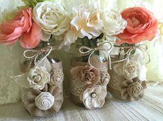 3 arpillera y encaje mason jar floreros boda por PinKyJubb en Etsy
