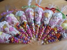 This listing is for 25 mixed color sweet cones with paper ribbon. Large cone containing mixed sweets decorated with ribbon one SET of 25 cones Perfect for Party childrens party or wedding favours valentines day christenings baby shower or any other event. These can be custom made