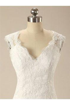 V Neck Lace Applique Mermaid Bridal Wedding Dress Ball Gown GBDRESS-2016PWL037