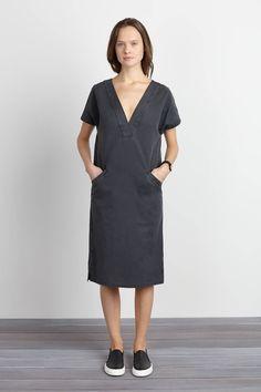 V Column Dress - Washed Slate | Emerson Fry