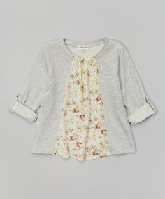 Another great find on #zulily! Heather Gray & Pink Floral Swing Pullover by Monteau Girl #zulilyfinds