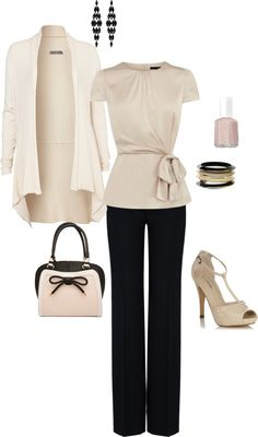 """black and cream"" by cs1398 on Polyvore but I'd change the jacket to a tiny 3/4 length sleeved black one with some satin on it. Magnifique!"