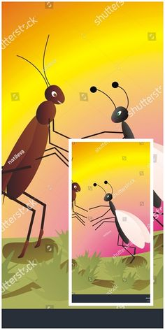#vector #illustration Queen #ant and #cricket in love #cartoon