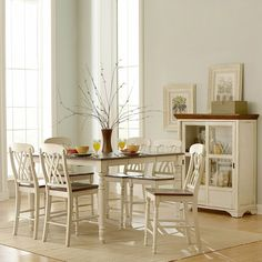Kitchen table and chairs- with curio> $1711. Might be perfect blend of white and cherry (kitchen). Lighting Universe. Homelegance Ohana Counter Height Dining Set - Home Furniture Showroom