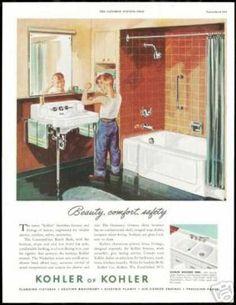 1950s bathroom | Boy Mirror Muscles Kohler Bathroom Fixture (1951)