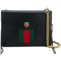 Gucci 'Animalier' Web Shoulder Bag (16265 MAD) ❤ liked on Polyvore featuring bags, handbags, shoulder bags, black, gucci purses, striped purse, chain shoulder bag, shoulder bag purse and genuine leather purse