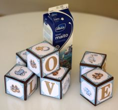 Upcycling one litre milkcarton (or juice) to cute babyblocks for decoration or play! Tutorial whith pictures