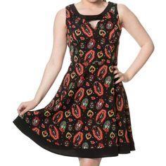 Sacred Heart korte jurk met Halloween print en strik detail zwart - Gothic Horror Zombie