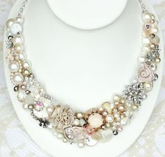 Champagne Pink Wedding Statement Necklace Blush by BrassBoheme