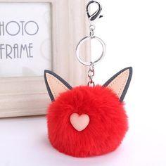 2017 Rex Rabbit Fur Keychain Pompon Soft Cat Ears Bags Hang Key Chain  Pendant Balls Silver 0292afbfffa1e