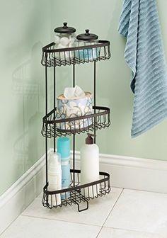 Free Standing Bathroom or Shower Corner Storage Shelves for Towels, Soap, Shampoo, Lotion