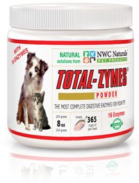 Total-Zymes® for Pets 228 Gram - Enzyme supplement for dogs and cats. One Jar Is 228 Grams And Treats 365 Cups Of Pet Food! Helps with digestive and immune disorders, joint difficulties and stiffness, allergies and skin problems. Promotes proper elimination and smaller stools.