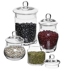 Set of 4 Decorative Clear Glass Apothecary Jars, Wedding Centerpiece Display Storage Canisters with Lids Apothecary Jars Wedding, Glass Apothecary Jars, Storage Canisters, Organising, Wedding Centerpieces, Clear Glass, Display, Ideas, Food