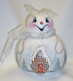 Snowman Gourd  Snowgirl Gourd with  Gingerbread by FromGramsHouse