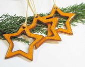 Pottery Orange Star Ornaments Gift Tag Xmas Decoration Or Christmas Tree
