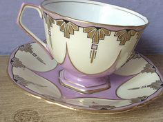 RARE antique art deco tea cup set, vintage 1930's Aynsley pink tea cup and saucer, pink yellow gold English tea set, bone china cup.