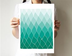 Geometric print - Teal - Hands drawing base - Abstract art - Spring art - Rhombus - Ombre art
