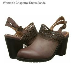 Ariat Women's Chaparral Dress Sandal $169.98 Description  Premium leather upper. Mule with adjustable back strap. Trendy perfed leather detailing. Round toe shape. Leather and rubber mini-lug outsole construction for comfort and durability.  size 7 new no box no tag no trades dont ask snug fit could fit 6 5 not 7.5  color:cognac  but looks,kinda cranberry tinged Ariat Shoes Mules & Clogs