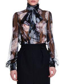 Floral Chiffon Tie-Neck Blouse, Black