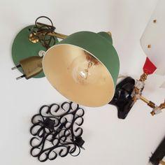 Vallauris Lampe de de table moderniste en cramique rouge et or
