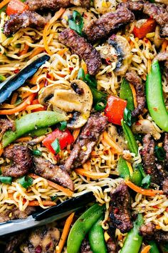 GARLIC BEEF RAMEN with Veggies is an easy 30-minute dinner recipe that is so much better than take-out! via chelseasmessyapron.com