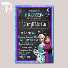 Frozen Purple Birthday Party Card Digital Invitation Kid Birthday Party Child…