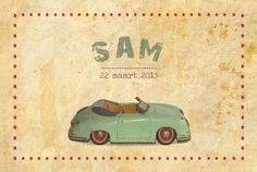 Geboortekaartje Sam - voorkant - Pimpelpluis - https://www.facebook.com/pages/Pimpelpluis/188675421305550?ref=hl (# vintage - retro - auto - origineel)