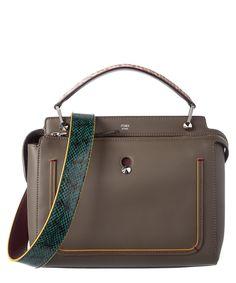 FENDI Fendi Dotcom Leather &Amp; Elaphe Satchel'. #fendi #bags #shoulder bags #hand bags #lining #satchel #suede #