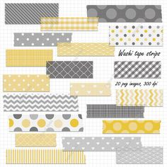 Digitale Washi Tape-Streifen - gelb und grau druckbare digitale Clipart Set - sofort-download