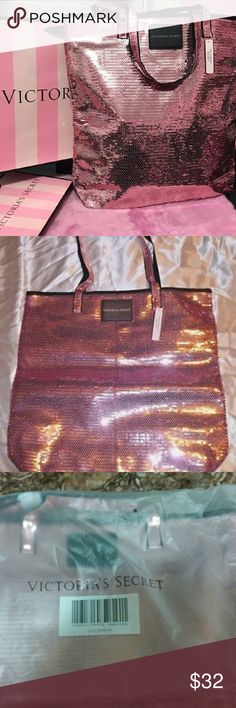 Victoria's Secret medium shopper Sequin Pink 2016 Victoria's Secret shopper with double strap. Sequin front and back, satin lined interior no closure. Perfect for everyday use, or nice enough for an evening out that requires a larger bag. Brand new in original bag with tags. Awesome for travel. Victoria's Secret Bags Totes