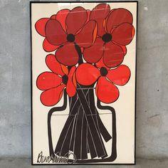 Mid Century Framed Flower Art on Fabric