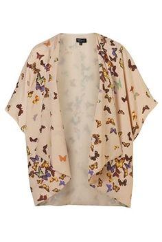 Multi Butterfly Print Kimono - Jackets & Coats - Clothing - Topshop USA - StyleSays