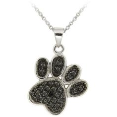 DB Designs Sterling Silver Black Diamond Accent Paw Print Necklace ($18) ❤ liked on Polyvore featuring jewelry, necklaces, accessories, bijoux, black, sterling silver jewelry, rolo chain necklace, long pendant necklace, long necklace and black pendant