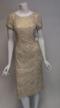 Alex Evenings Gold Cap Sleeve Below Knee Lace V Back Dress NWT Sz 6,8,10 $189…
