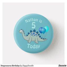 Stegosaurus Birthday Boys Dinosaur Button