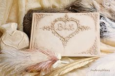 Elegant Ivory Wedding Guest Book Personalized guest book