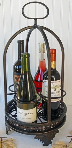 Vintage Wrought Iron Wine Rack  Wine Caddy  Napa by RedouxChic, $62.00