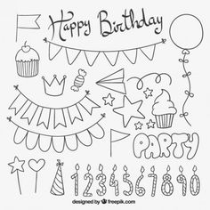 Free vector Cute birthday elements #10056