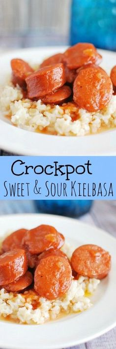 Crockpot Sweet and Sour Kielbasa - easy and delicious weeknight meal. This is a kid favorite!