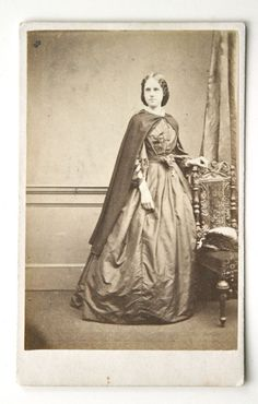 Antique Victorian CDV Girl in Long Dress Cape 1860s Fashion London | eBay