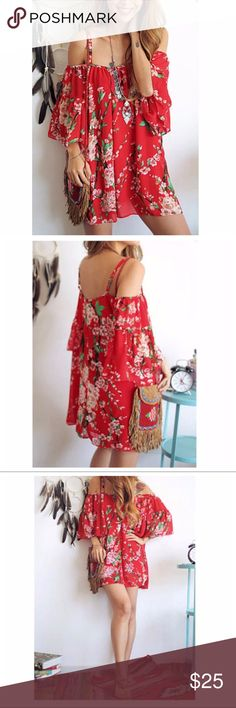 """Red Floral Chiffon Off-Shoulder Dress or Tunic Brand new without tags. Very pretty red floral Chiffon off-shoulder dress. Mini so can be worn Tunic style. Perfect for a day at the beach great coverup. Fabric is semi sheer so will need a bikini or tank/slip underneath.  Size Large can fit women 10-14.   Measures: 19.5"""" flat at bust (38"""" around) 17.5"""" length from shoulder to hem.  Bundle for 15% discount. Dresses Mini"""