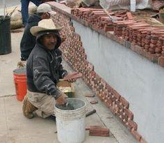 The 2 Minute Gardener: Photo - CMU Wall with Brick Facade Under Construction Brick Siding, Brick Fence, Brick Facade, Trellis Gate, Brick Border, Rock Tile, Stone Wall Design, Gabion Fence, Patio Deck Designs