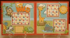Go Wild Cricut 2 Page Layout Directions Instructions - Need Expression machine and Create a Critter cartridge. Baby Scrapbook Pages, Baby Boy Scrapbook, Scrapbook Sketches, Scrapbook Page Layouts, Scrapbook Paper Crafts, Scrapbook Cards, Scrapbooking Ideas, Scrapbook Photos, Book Layouts