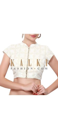 Buy Online from the link below. We ship worldwide (Free Shipping over US$100). Product SKU - 313385. Product Price - $69.00. Product Link - http://www.kalkifashion.com/white-blouse-adorn-in-zari-embroidery-only-on-kalki.html