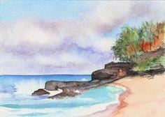 Lumahai Beach Original Seascape Watercolor Painting from Kauai Hawaii.  via Etsy.