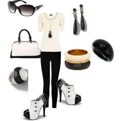 I'm really diggin' this look.  I'd do solid white top and bracelet to go with shoes & purse.